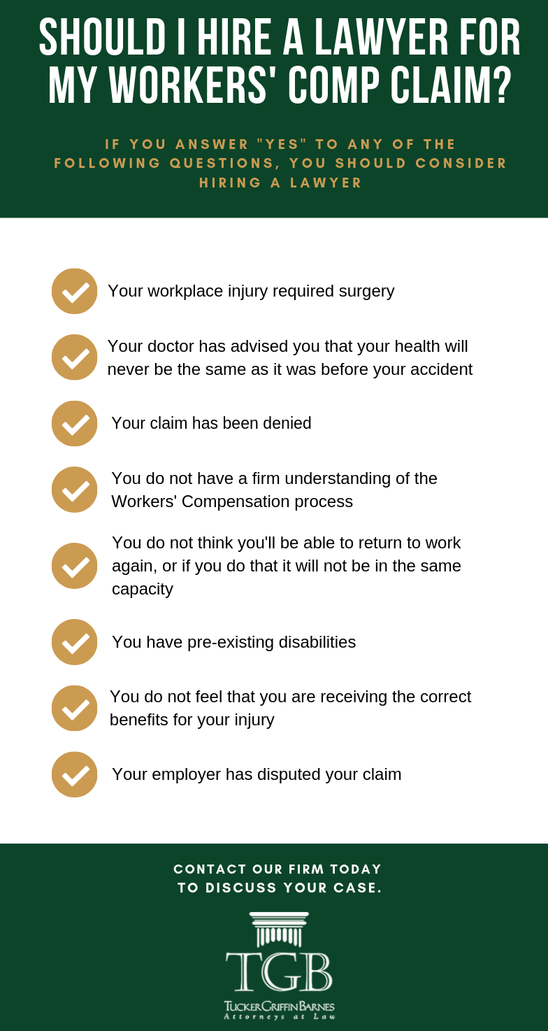 Infographic of whether or not you should hire a lawyer to represent you in your workers' comp case